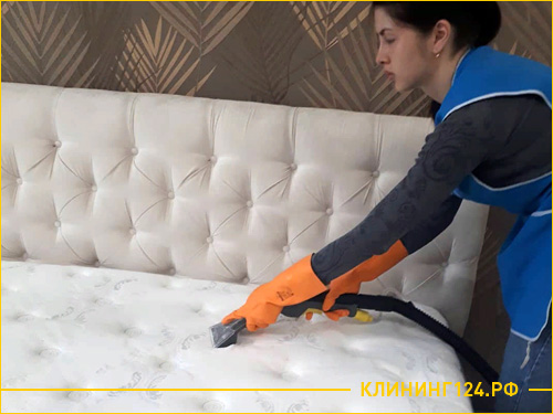 Сотрудник компании чистит матрас от пятен
